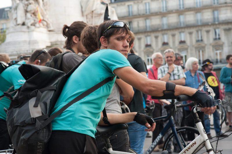Paris, grève des coursiers à vélo, août 2017