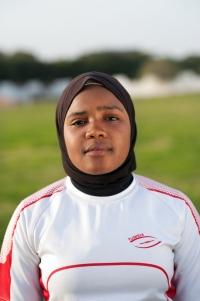 Fadwah Najeh, membre de la sélection féminine, a choisi de jouer voilée